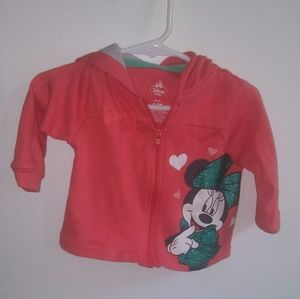 Coral & Gray Disney Minnie Mouse Jacket